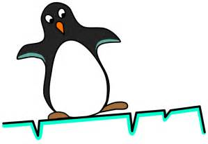 Free cartoon penguin sliding on ice clip art