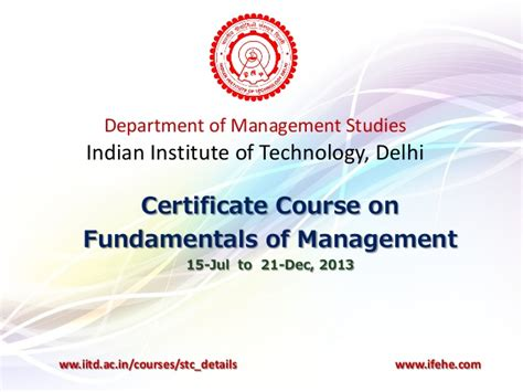 Cargo Management Course In Delhi Iit Delhi Certificate Course On Fundamentals Of Management