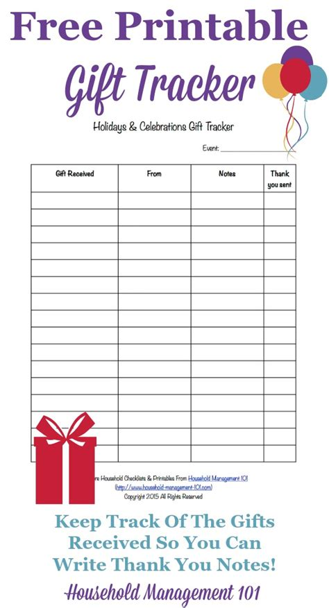 Printable Holidays & Celebrations Gift Tracker: Remember