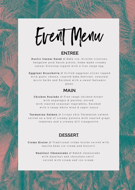 Event Menu Customizable Template With Tropical Palm Background Easil Tropical Menu Template Free