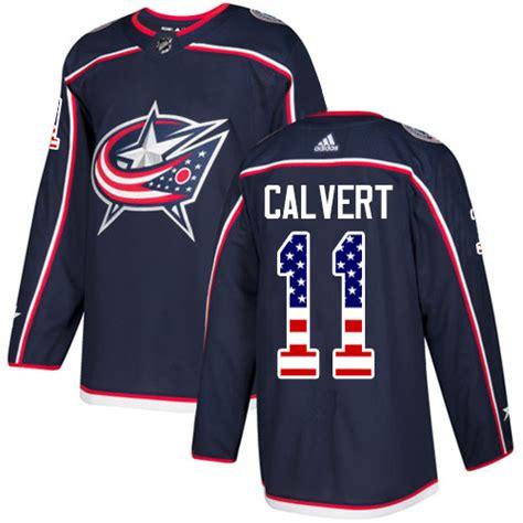 Calvert Authentic 11 stitched nhl columbus blue jackets blue jackets adidas authentic s navy blue home jersey
