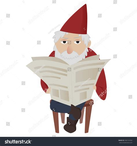 classic garden gnome reading newspaper sitting stock