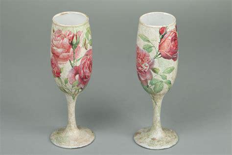 Decorative Wine Glasses by Wine Glasses Decoupage Technique Gift Idea