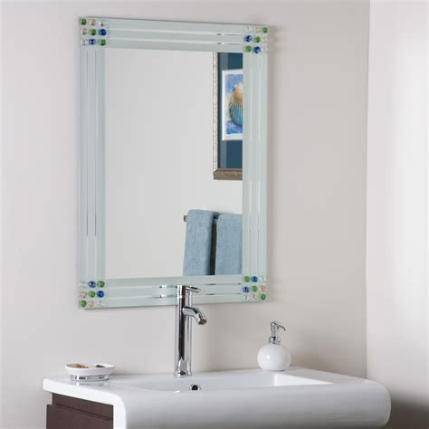 decor square bevel frameless bathroom mirror