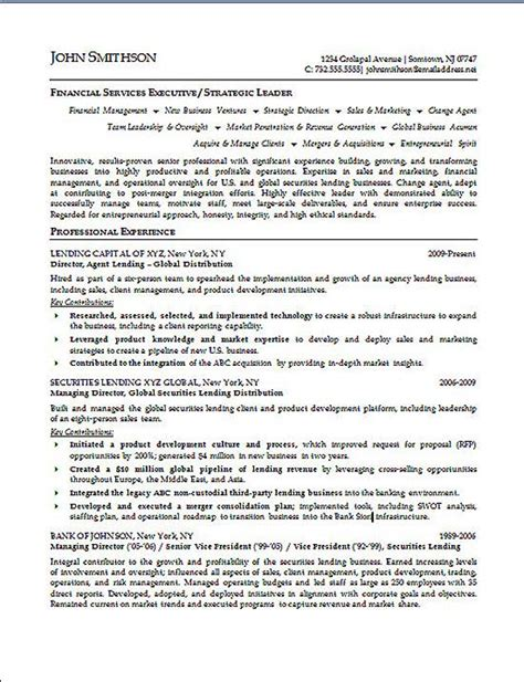 Resume Sles For Experienced Finance Professionals Financial Executive Resume Exle Resume Exles And Executive Resume