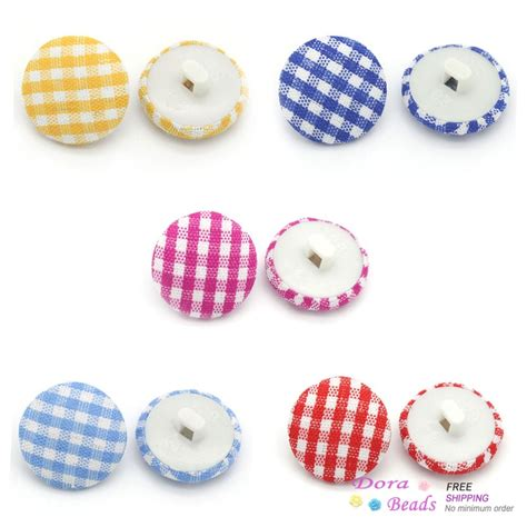 8years B13359 Pliers handmade woven cloth sewing shank buttons grid mixed