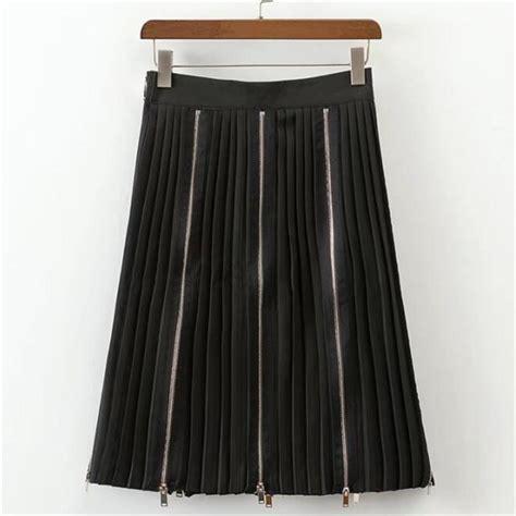 Black Zipper Skirt multi zipper fold black skirt fashion skirt 2017