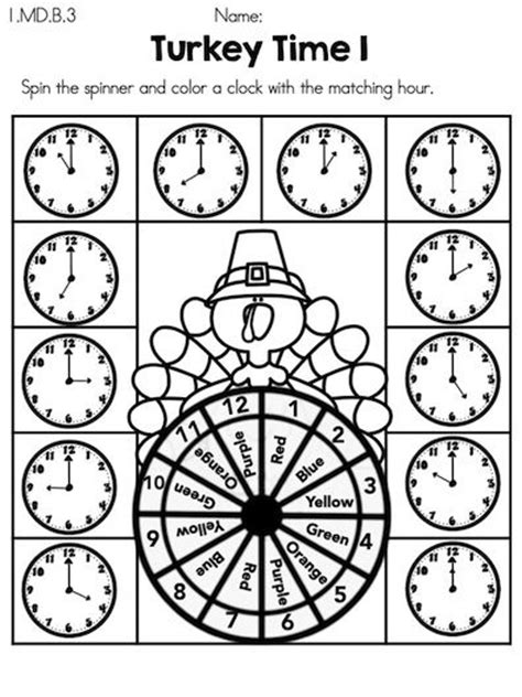 turkey time coloring page colors thanksgiving and clock on pinterest