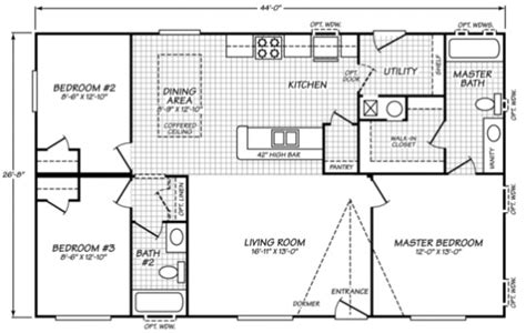 Single Wide Mobile Home Floor Plans 2 Bedroom by Waverly Crest Fleetwood Manufactured Homes Mobile