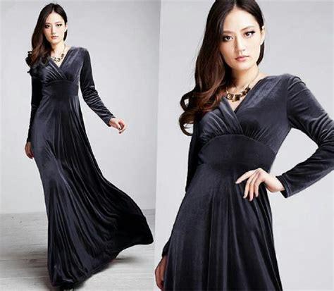 Longdress Bludru model dress modern menggunakan kain beludru bikin anda