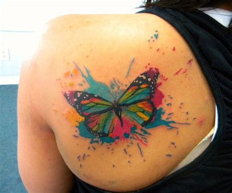 watercolor tattoo upper back amazing watercolor butterfly on back