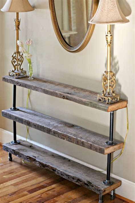 diy barnwood sofa table diy reclaimed wood console table the reedy review