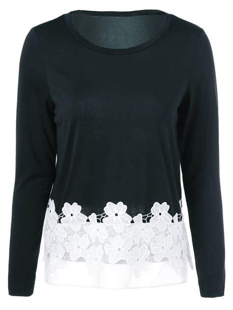 Sleeve Lace Hem T Shirt sleeve lace hem t shirt blouse sleeve