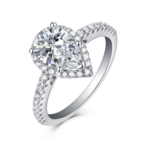 cheap white sapphire engagement rings pear cut 925 sterling silver white sapphire halo