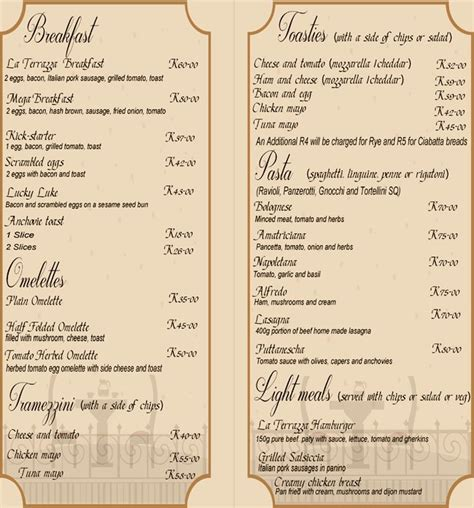 la terrazza menu la terrazza menu menu for la terrazza edenvale east