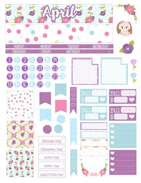 Monthly Planner Sticker printable planner stickers april monthly kit view set glam