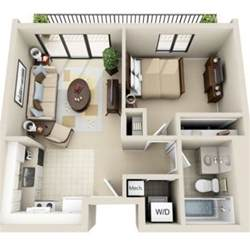 3d floor plan image 2 for the 1 bedroom studio floor plan
