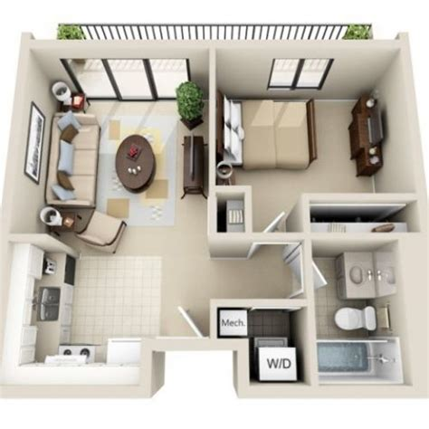 3d floor plan image 2 for the 1 bedroom studio floor plan of property viewpointe small house