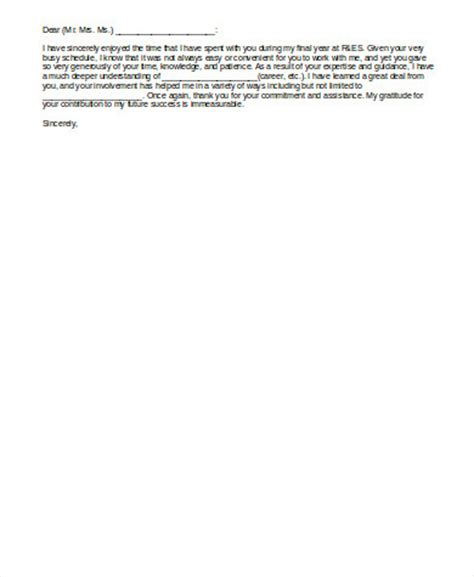 Thank You Letter To Student Sle Thank You Letter To 6 Exles In Word Pdf