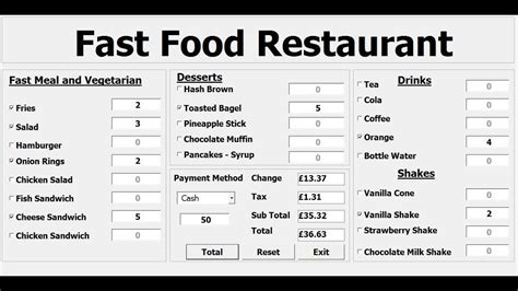 design pattern vba how to create a fast food restaurant systems in excel