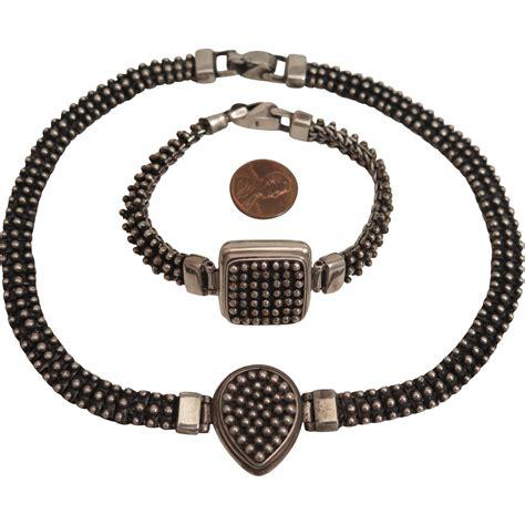 Sterling Silver Necklace Bracelet vintage sterling silver textured necklace and bracelet set