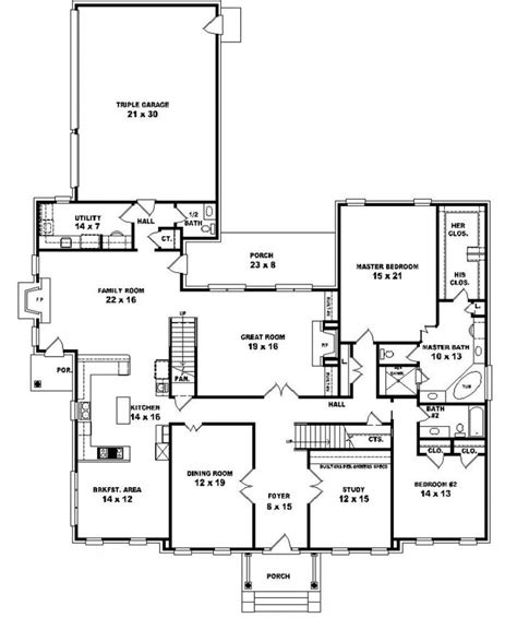 5 bedroom floor plans 653902 two story 5 bedroom 4 5 bath traditional