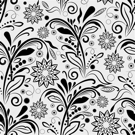 black and white pattern vintage seamless black and white floral vintage vector pattern