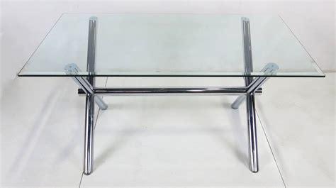 italian chrome x base trestle dining table or writing desk
