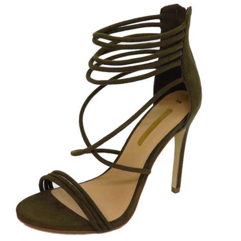shoes sandals high heels strappy khaki gladiator zip up peep toe high heel
