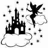 Disney Castle Silhouette With Tinkerbell | 600 x 600 jpeg 40kB