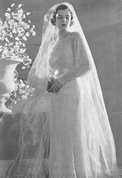 1934 Bridal Gown Vintage Knitting Pattern PDF 327 $3.75   Crochet Bride   Robe victorienne