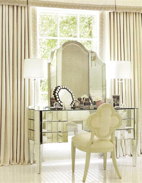 mirrored bedroom vanity upholstered chair and mirrored glass bedroom vanity table