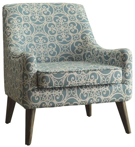 beautiful pattern fabric light blue and white accent chair