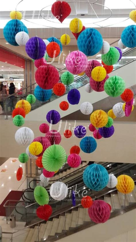 grass green honeycomb paper fan flower paper craft garland