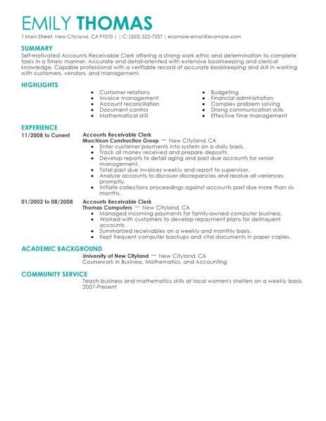 Account Receivable Resume by Best Accounts Receivable Clerk Resume Exle Livecareer