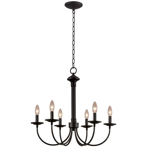 Shop Portfolio 6 Light New Century Black Chandelier At Chandeliers Black