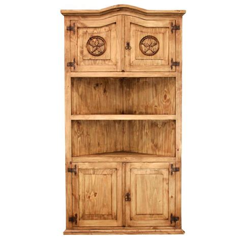 Pine Corner Bookcase Rustic Pine Collection Largecorner Bookcase W Lib505