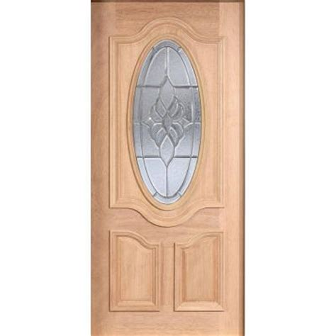 Solid Wood Front Doors With Glass Door 36 In X 80 In Mahogany Type Unfinished Beveled Patina 3 4 Oval Glass Solid Wood