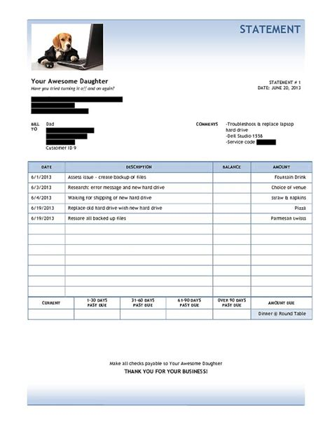 daughter sends dad amazing invoice after fixing his