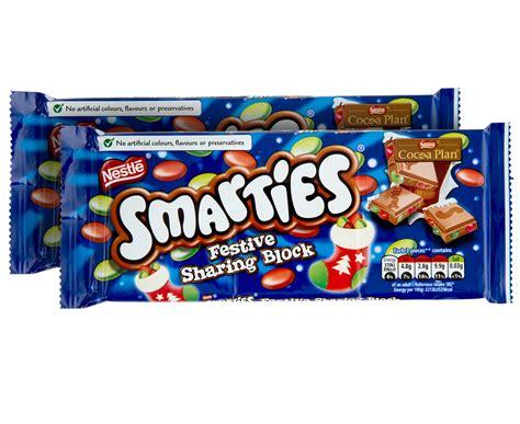 Nestle Smarties Chocolate Block 2 x nestl 233 smarties festive chocolate block 100g