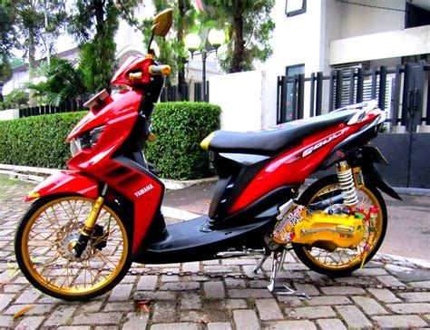 Modifikasi Mio Soul Merah Velg 17 by Modifikasi Mio Soul Gt Drag 125 Ring 17 Warna Merah Hitam