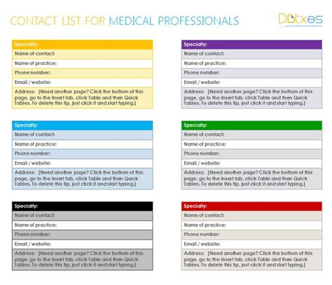 contacts list template professionals contact list template in ms word
