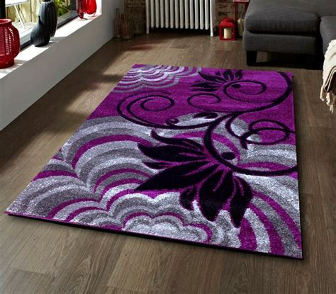 Purple And Black Rug by Purple Blackgropund With Grey Silver And Black Flower