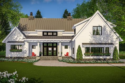 farmhouse plan modern farmhouse with vaulted master suite 14661rk architectural designs house plans