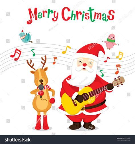 reindeer santa claus singing playing guitar stock vector  shutterstock