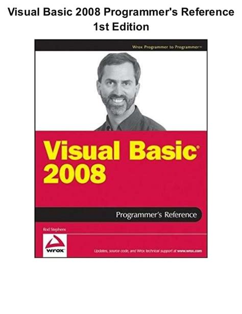 reference book for visual basic visual basic 2008 programmer s reference 1st edition ebook