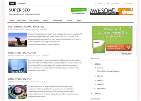 super seo blogger template lovely templates