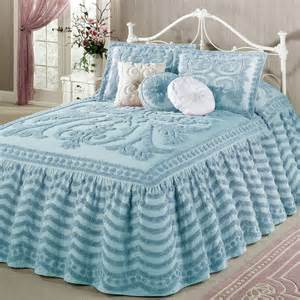 Seconds Bedroom Furniture Illusion Pastel Blue Chenille Ruffled Flounce Oversized
