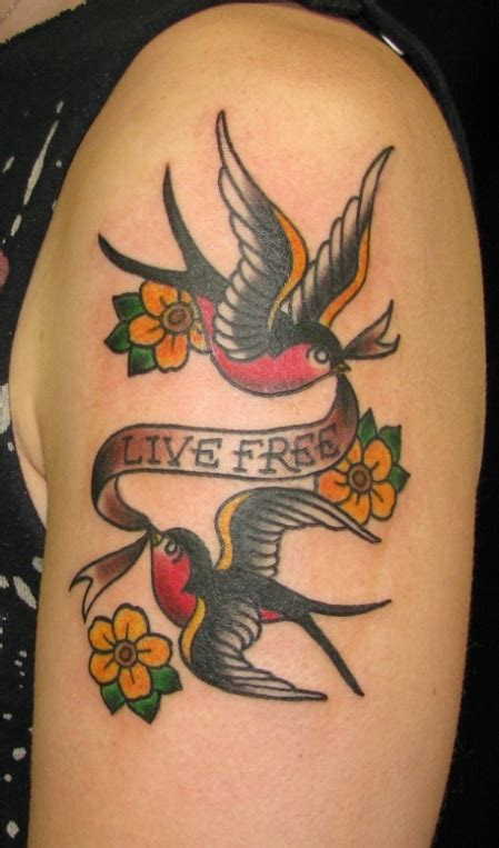 live free tattoo designs a sailor jerry design of two sparrows birds