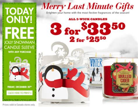 Bath And Body Works Gift Card Balance Canada - bath body works canada coupons free 3 wick candle sleeve today only canadian
